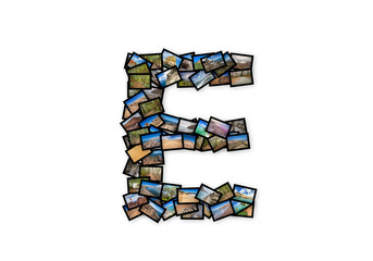Letter E uppercase font shape alphabet collage made of my best landscape pictures.