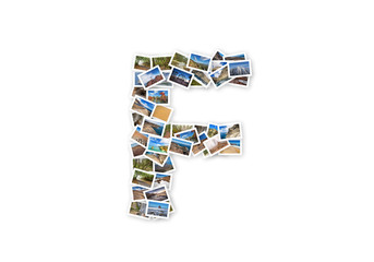 Letter F uppercase font shape alphabet collage made of my best landscape pictures.