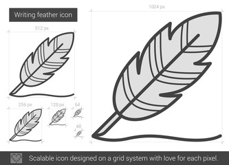 Writing feather line icon.