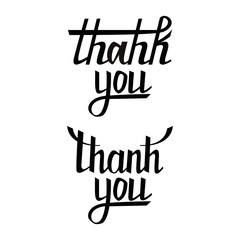 Thank you postcard set. Hand drawn greeting card. Ink illustration. Modern brush calligraphy. Isolated on white background