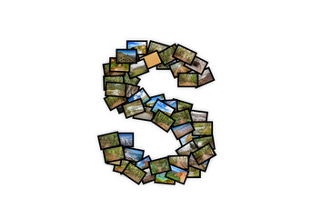 Letter S uppercase font shape alphabet collage. Made of my best landscape pictures.