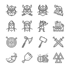 Viking line icons set