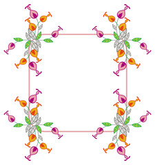 Beautiful frame with decorative flowers.
