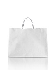 Blank white shpping paper bag isolated on white with clipping pa