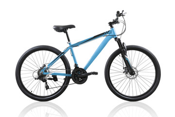 Blue bicycle isolated on white background with clipping path