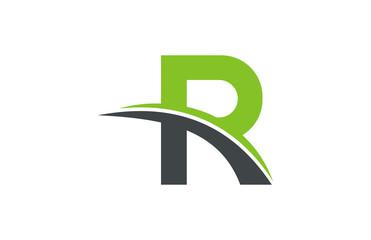 logo letter r grass