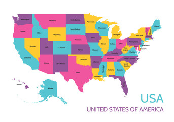 USA - United States of America - colored vector map with the division into parts.