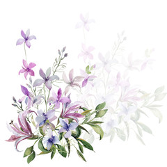 Pattern of wild flowers ,image on a colored background