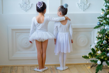 Two young ballet dancers learning the lesson near Christmas tree