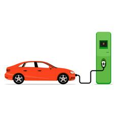 Electric car charging station concept. EV recharging point or EV
