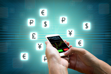 Forex concept, Businessman holding smart phone and currency icon