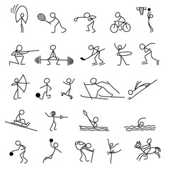 Cartoon icons sport set of stick figures sketch little people