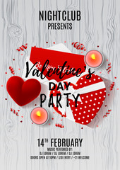 Happy Valentine's Day paty flyer. Top view on composition with gift boxes and red case for ring. Beautiful banner with confetti and serpentine on wooden texture. Vector illustration.
