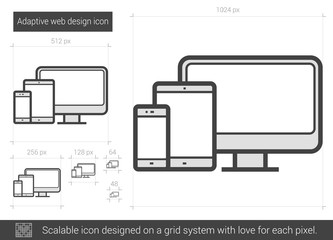 Adaptive web design line icon.