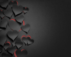 paper hearts valentine's day  - 3D romantic card / background ( love , valentine , wedding )