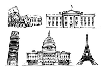 Coliseum, White House, Tower of Pisa, United States Capitol, Eiffel tower vector set on white background