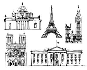 Coliseum, White House,Tower of Pisa, Capitol Building, Eiffel Tower, vector set illustrations isolated on white background