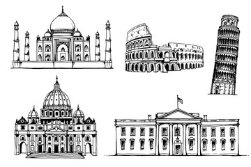 Taj Mahal, Coliseum, Tower of Pisa, St. Peter's Basilica, White House, vector set of popular world landmarks, tourist attractions, isolated on white background