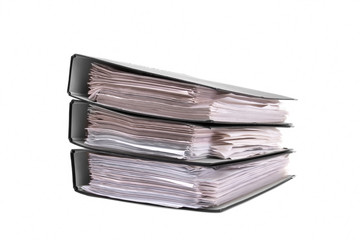 Folder with business papers on a white background.