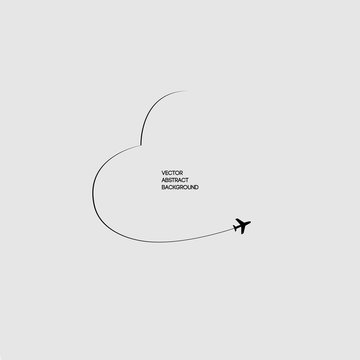 Black lines. The Sky.The path airplane. Flight. Gray background. Love. Heart in the sky.