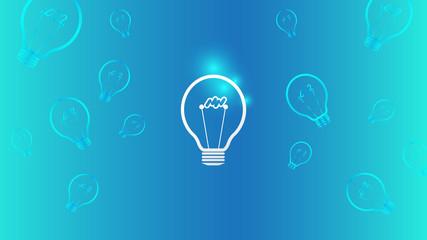 Light Bulb Idea on Blue Background  Full Hd