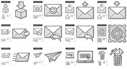 Email line icon set.