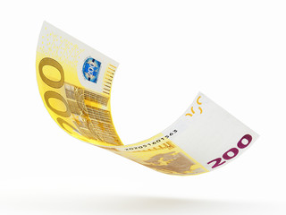 Falling two hundred Euro banknote curled isolated on white background. 3D illustration