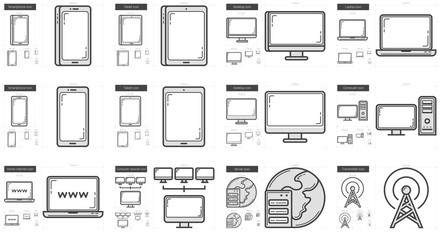 Gadgets line icon set.