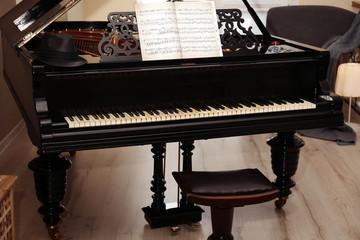 Black piano, close up