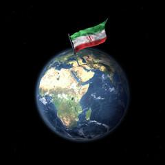 Drapeau d'Irak sur la planète Terre