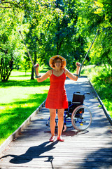 handicapped woman raising her crutches