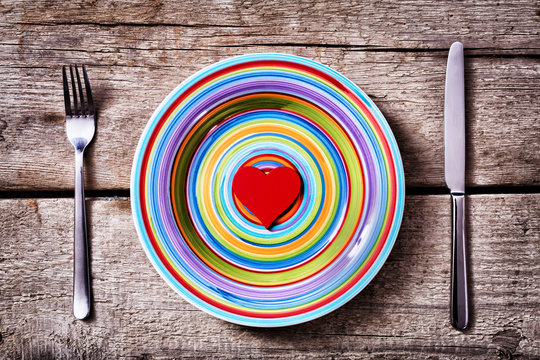 colorful plate with red heart inside