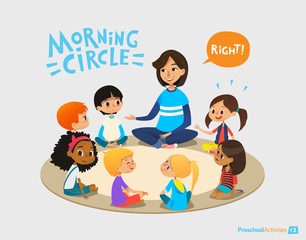 Smiling kindergarten teacher talks to children sitting in circle and asks them questions. Preschool activities and early childhood education concept. Vector illustration for poster, website banner.