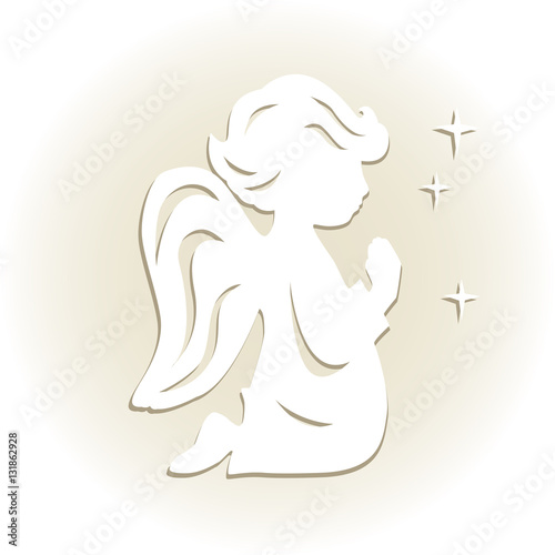 Template angel for cut of laser or engraved stencil for for Angel decoration template
