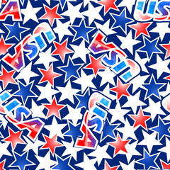 USA flag with stars and stripes seamless pattern