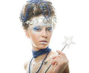 portrait of winter queen with artistic make-up. Isolated on whit