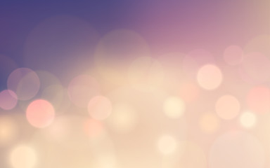 Abstract bokeh and lens flare pattern on rose quartz color blurred background (vector)