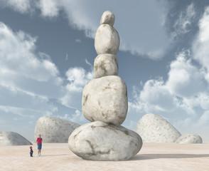 Steinturm in einer Landschaft