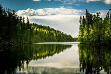 A beautiful lake landscape in Finland