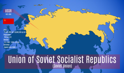 Vector. Sschematic map of the Soviet Union (USSR).