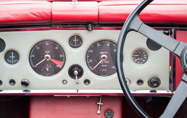 Wall Mural - vintage leather coated auto dashboard