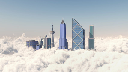 Bankviertel über den Wolken