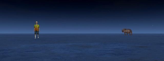 Wanderer und Nashorn begegnen sich bei Nacht in der Wüste