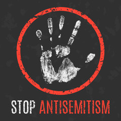 Vector. Social problems of humanity. Stop antisemitism.