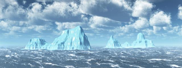 Eisberge in stürmischer See
