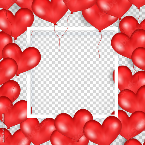 Frame With Red Balloons In Form Of Heart Transparent Background Big Place For Text
