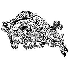 Zentangle stylized cartoon ram vector illustration