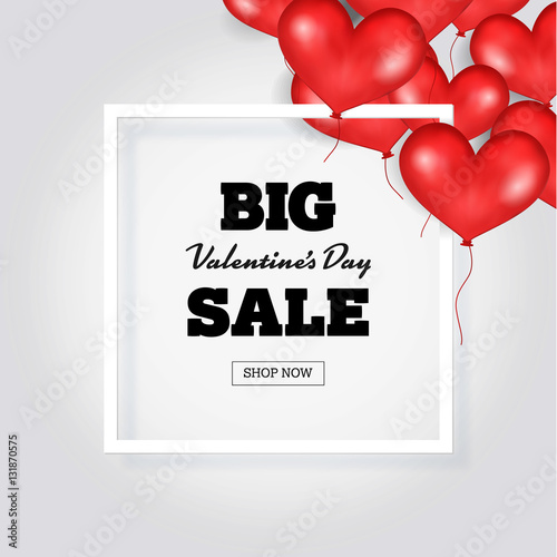 Big Valentine s Day Sale Banner Template. White Frame. Place For ...
