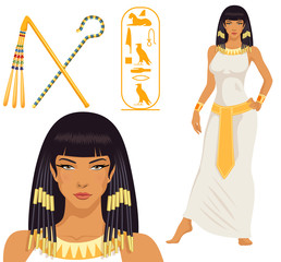 illustration of Cleopatra, her name written in Egyptian hieroglyphics and pharaoh symbols