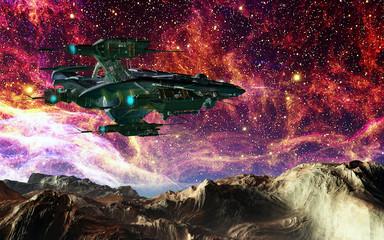 Raumschiff vor einem Sternenhimmel